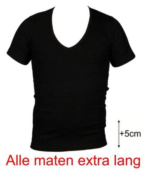 ca16580d507 Beeren heren t-shirt korte mouw diepe V-hals extra lang zwart