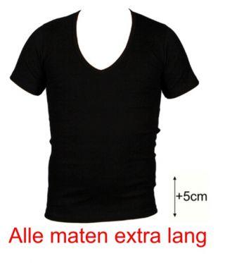 Beeren heren t-shirt korte mouw diepe V-hals extra lang zwart