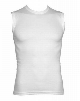 Beeren heren Mouwloos shirt 'Tactel' ronde hals wit