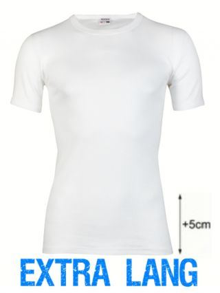 Beeren heren t-shirt korte mouw ronde hals extra lang wit
