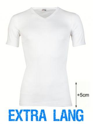 Beeren heren t-shirt korte mouw V-hals extra lang wit