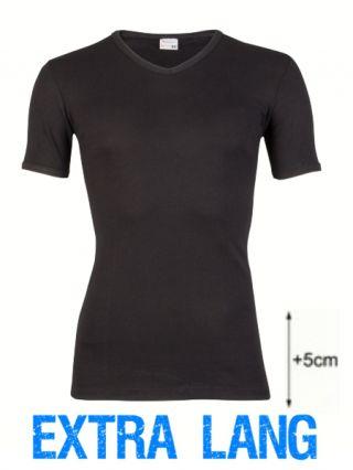 Beeren heren t-shirt korte mouw V-hals extra lang zwart