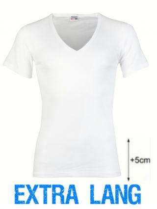Beeren heren t-shirt korte mouw diepe V-hals extra lang wit [CLONE]