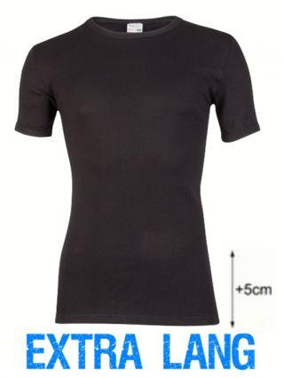 Beeren heren t-shirt korte mouw ronde hals extra lang zwart